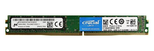 Pamięć RAM 1x 16GB Crucial ECC UNBUFFERED DDR4  2400MHz PC4-19200 UDIMM | CT16G4XFD824A